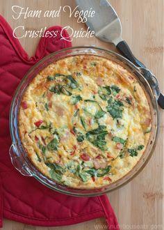 Ham & Veggie Crustless Quiche   www.nutritiouseats.com