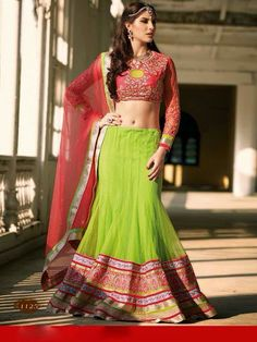 Rich Green & Pink Lehenga Choli, designer collection 2015, bridal lehenga, indian wedding dress, buy lehenga online