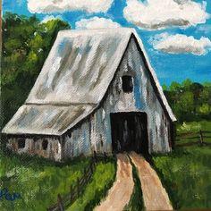 "ORIGINAL ART ACRYLIC PAINTING BLUE GRAY OLD BARN FARM LANDSCAPE 6""x6""  | eBay"