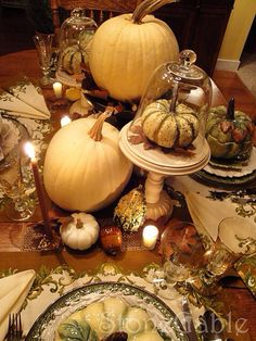 Pretty Fall decor with pumpkins & candles