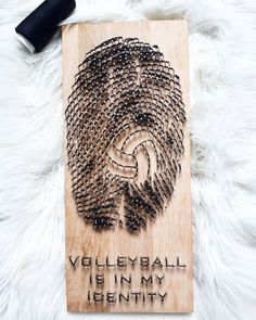 Volleyball is in my identitiy, handmade string art. Dimensions x String Art, Volleyball, Art Girl, Remote, Identity, Woodworking, Wool, Nails, Gifts