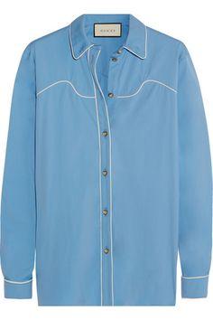 Light-blue cotton-blend poplin Button fastenings through front  78% cotton, 18% polyamide, 4% elastane; trim: 100% silk  Dry clean Designer color: Azure/ Pearl Made in Italy