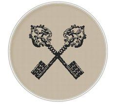 Keys cross stitch pattern, Cross stitch PDF, Instant Download, Free shipping, Pillow pattern, cushion pattern, Vintage, MCS071