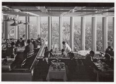 Inside the Windows of the World restaurant on the 107th floor of the World Trade Center in 1976, New York. I will never forget when I attended a banquet here almost 15 years ago.
