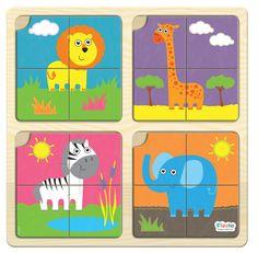 Fiesta Crafts- Kids Puzzles- 4 Pc Jungle Puzzle