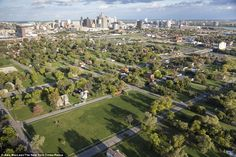 Detroit by Air - A green city block was once the site of John A. Owen Elementary School, recently torn down as part of a Detroit Public Schools initiative to demolish vacant schools, seen as safety hazards. Great Places, Places To Go, Detroit Neighborhoods, Urban Island, Derelict Buildings, Detroit Michigan, Places Around The World, Abandoned Places, Aerial View