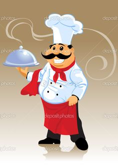 Chef cook and plate - Stock Vector , Cartoon Chef, Cartoon Pics, Cartoon Drawings, Italian Party Decorations, Princess Party Decorations, Chef Pictures, Share Pictures, Animated Gifs, Popsicle Stick Crafts