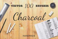 Vector Brush, Art Themes, Letter Logo, Journal Cards, School Design, Paper Cutting, Design Bundles, Charcoal, The 100