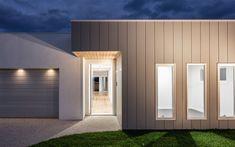 Mixed Facade With Vertical Stria And Render Interior Cladding, House Cladding, Wall Cladding, Facade House, House Facades, Home Design 2017, New Home Designs, Minimalist House Design, Minimalist Home