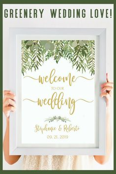 This Wedding Welcome Sign Printable With It's Elegant Greenery Wedding Decor Adds A Fresh And Welcoming Touch To Your Wedding Entrance. Compliments a greenery wedding, beach wedding or rustic wedding beautifully! Whilst the gold wedding calligraphy compliments the greenery decor on this Welcome To Our Wedding sign beautifully, it can be changed to a color that better suits your wedding theme.