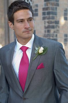 Gray suit with that exact pink for groomsmen and bridesmaids Fuschia Wedding, Grey Suit Wedding, Hot Pink Weddings, Gray Weddings, Wedding Men, Trendy Wedding, Wedding Colors, Dream Wedding, Wedding Ideas