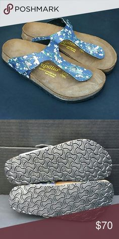 New Papillio By Birkenstock Blue Floral Sandles New Papillio By Birkenstock Blue Floral Size 8 Sandles Birkenstock Shoes Sandals
