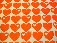 70 er Vintage Orig.  Graziela Bettwäsche Stoff Herzen 70s fabric orange   Nähen