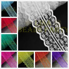 Bulk 10yards 45mm Fabric Embroidered Lace Bilateral Trim Ribbon Sewing 37 Colors #unbranded