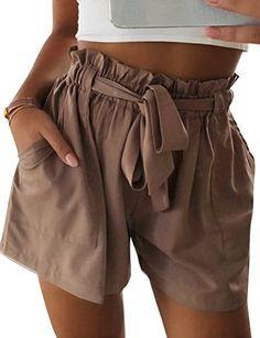3bdf1902906 Nlife Women Summer Tie Front Stripe Style Shorts Beach Shorts