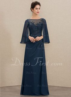 A-Line Scoop Neck Floor-Length Chiffon Lace Mother of the Bride Dress With Sequins - Mother of the Bride Dresses - JJ's House Mother Of Groom Dresses, Mother Of The Bride, New Wedding Dresses, Bridesmaid Dresses, Bride Dresses, Abaya Fashion, Fashion Dresses, Dress Brokat Modern, Kebaya Lace