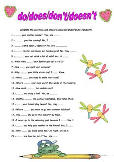 Do/don't/does/doesn't worksheet - Free ESL printable worksheets made by teachers English Grammar For Kids, Learning English For Kids, Teaching English Grammar, English Worksheets For Kids, English Lessons For Kids, English Verbs, English Activities, Grammar Lessons, English Language Learning