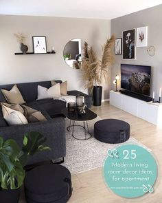 Cozy Living Rooms, Living Room Interior, Home Living Room, Modern Small Living Room, Living Room Apartment, Modern Apartment Decor, Interior Design For Small Living Room, Living Room With Mirror, One Room Apartment Decorating