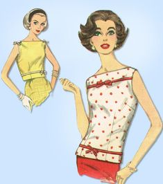 1950s Vintage Simplicity Sewing Pattern 2522 Junior Misses Sleeveless Blouse 33B