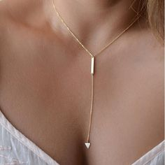 ~ Lucky ~ Gold ~ Silver Chain Tiny Bar ~Circle ~ Lariat ~Triangle ~ Pendant ~ Choker Necklace ~