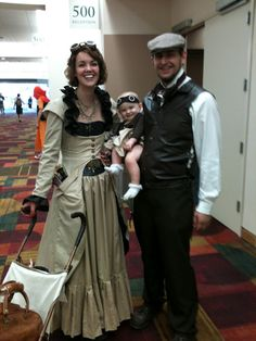 DIY Steampunk baby stroller and outfit. The effort this couple into these outfits is amazing. From the blog awaiting ada.