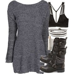 """""""Malia Inspired Clubbing Outfit with Combat Boots and a Dress"""" by veterization on Polyvore"""