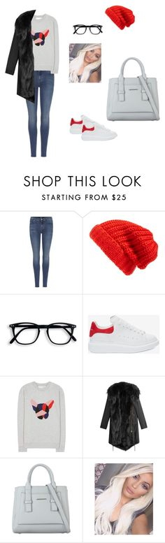 """""""Untitled #562"""" by miss-vs ❤ liked on Polyvore featuring 7 For All Mankind, Hinge, Alexander McQueen, Être Cécile and Barbed"""