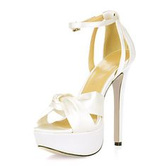 Unique Silk Stiletto Heel Sandals With Buckle Party/Evening Shoes - USD $ 69.99