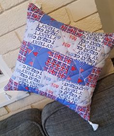 Quilted seaside cushion by Quiltingadream on Etsy