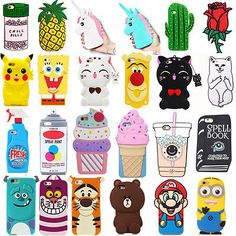 3D Cartoon For Various iPhone Cute Animals Soft Silicone Case Cover Back Skin | eBay