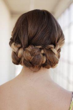 Rolled braid hair style