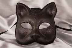 Black Venetian Masquerade Cat Mask - Gatto Fiore