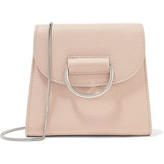 Little Liffner D Tiny Box textured-leather shoulder bag (2.285 NOK) ❤ liked on Polyvore featuring bags, handbags, shoulder bags, beige, shoulder handbags, cell phone purse, mini purse, cellphone purse and chain strap purse