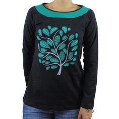 Camiseta algodon bicolor árbol bordado