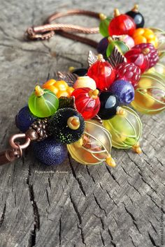 Комплект Лето. Lampwork - разноцветный,авторский лэмпворк,ягоды,ягодное украшение