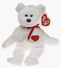 TY Beanie Baby - VALENTINO the White Bear. Valentino will steal your heart, but not to worry--.  He was born February 14, 1994. His heart is red and full of love He cares for you so give him a hug