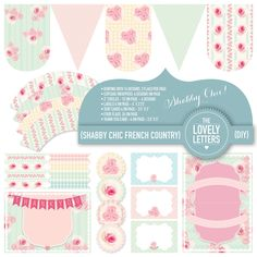 Shabby Chic French Country Garden Range Party Set - birthday, showers, party decor. Printables - DIY. $25.00, via Etsy.