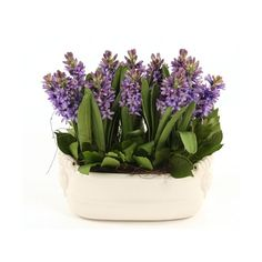 Distinctive Designs Silk Blue-Purple Hyacinth Garden In A White Glazed... ($338) ❤ liked on Polyvore