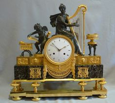 French Empire antique mantel clock of impressive size and quality. at Gavin Douglas Fine Antiques Ltd. in London, specialists in antique clocks and decorative gilt bronze Antique Mantle Clock, Mantel Clocks, Antique Clocks, Vintage Clocks, Vintage Room, Vintage Cars, French Clock, Clock Shop, Clock Art
