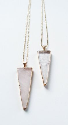 ON SALE Rose Quartz Triangle Gold Necklace by friedasophie on Etsy