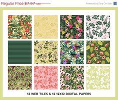 Floral Digital Papers & Web Tiles - Petal Boutique Clip Art Set - Seamless Patterns - Blog Graphics -https://www.etsy.com/listing/195602760