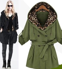 Morpheus Boutique  - Green Double Breasted Belt Leopard 3/4 Sleeve Trench Celebrity Coat, $119.99 (http://www.morpheusboutique.com/green-double-breasted-belt-leopard-3-4-sleeve-trench-celebrity-coat/)