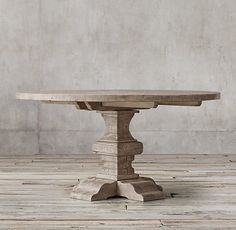 Reclaimed Russian Oak Baluster Round Dining Table in Grey | Restoration Hardware