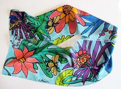 Hand painted silk scarf by Linda Marcille http://artonsilkandpaper.com/products