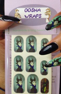 Hey, I found this really awesome Etsy listing at https://www.etsy.com/listing/183407480/maleficent-nail-wraps
