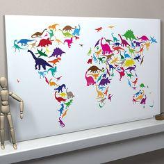 Wereldkaart gemaakt van een dino print #dino #dinosaurus #themakamer #kinderkamer