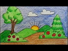 Hi kids.do watch this easy drawing video on how to draw a sunrise scenery. I have used pencil colors of doms here abd black marker pen. Scenery Drawing For Kids, Drawing Videos For Kids, Easy Drawings For Kids, Painting For Kids, Art For Kids, Sketching For Kids, Sunrise Drawing, Youtube Drawing, Kindergarten Art Lessons