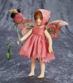 "9"" (23 cm.) American Felt ""Red Clover Fairy"" by R. John Wright 400/600"
