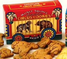 animal crackers. with the string to carry the box with.