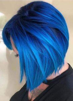2019 Bold Hair Color Trends & Ideas Spectacular bold blue hair color on short hair Dark Purple Hair Color, Bold Hair Color, Hair Color Shades, Hair Color For Women, Hair Color Highlights, Hair Color Balayage, Blue Hair Colors, Blue And Pink Hair, Short Blue Hair